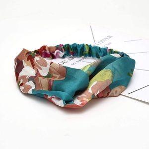Accessories - Teal stretchy Floral print turban headband wrap